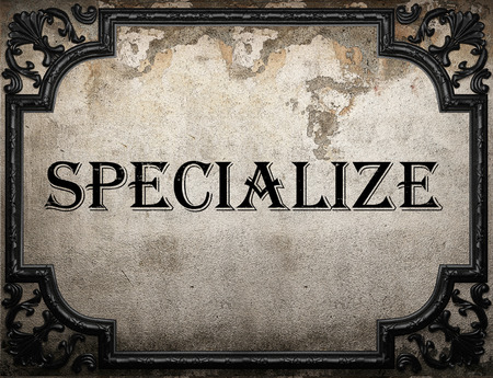 specialize: specialize word on concrette wall Stock Photo