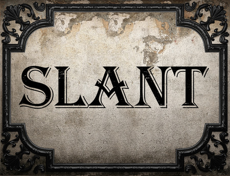 slant: slant word on concrette wall Stock Photo