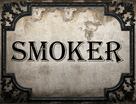 smoker: smoker word on concrette wall Stock Photo