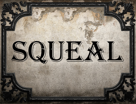 squeal: squeal word on concrette wall Stock Photo