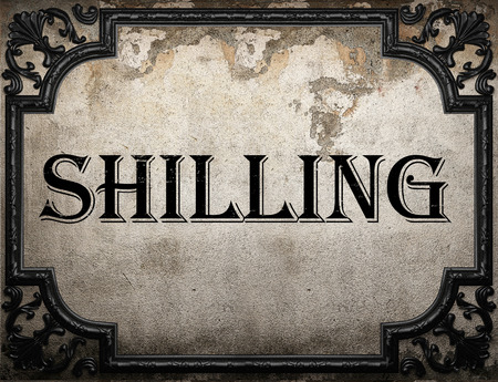 shilling: shilling word on concrette wall Stock Photo