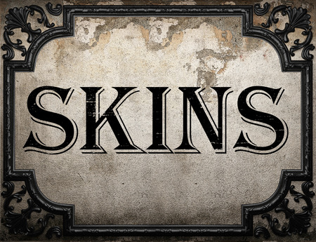 skins: skins word on concrette wall Stock Photo