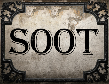 soot: soot word on concrette wall Stock Photo