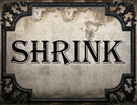 shrink: shrink word on concrette wall Stock Photo