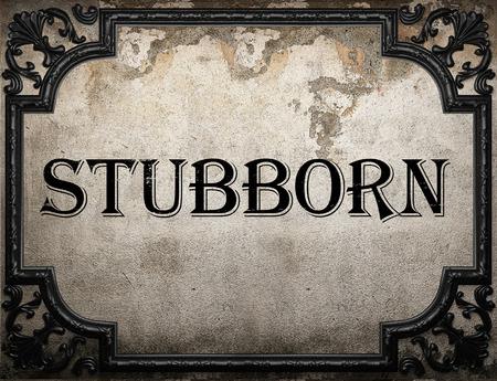 stubborn: stubborn word on concrete wall Stock Photo