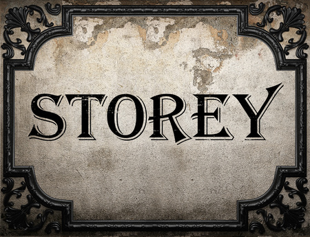 storey: storey word on concrette wall