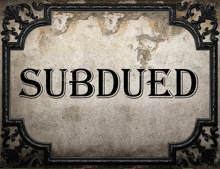 subdued: subdued word on concrete wall