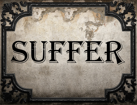 suffer: suffer word on concrete wall Stock Photo