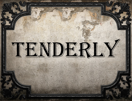 tenderly: tenderly word on concrete wall Stock Photo