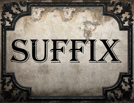 suffix: suffix word on concrete wall
