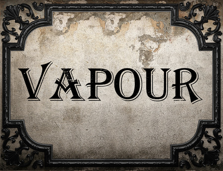 vapour: vapour word on concrete wall Stock Photo