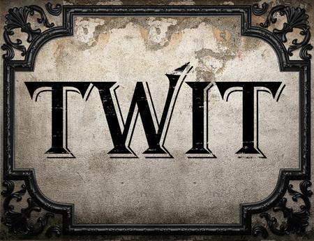 twit: twit word on concrete wall