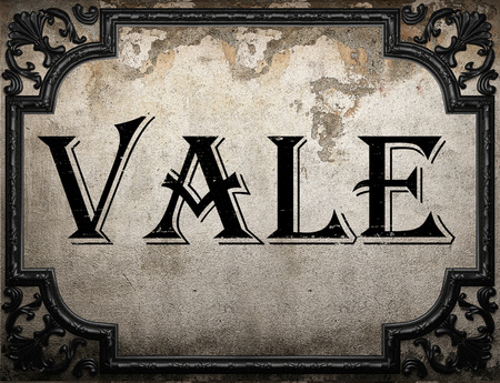 vale: vale word on concrete wall Stock Photo