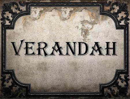 verandah: verandah word on concrete wall