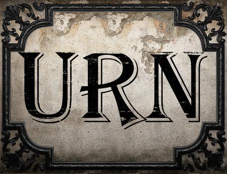 urn: urn word on concrete wall
