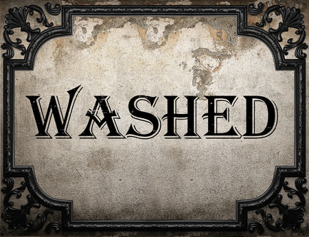 washed: washed word on concrete wall Stock Photo