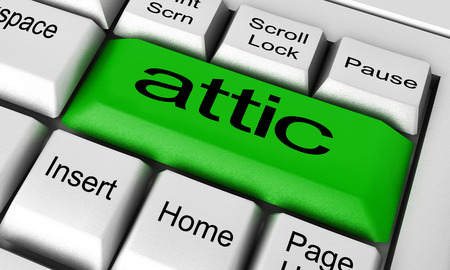 attic: attic word on keyboard button