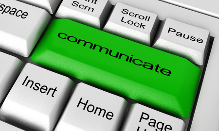 comunicar: comunicar la palabra en el botón del teclado Foto de archivo