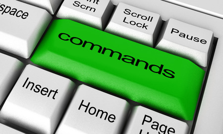 commands: commands word on keyboard button Stock Photo