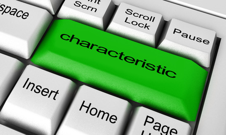 characteristic: characteristic word on keyboard button Stock Photo