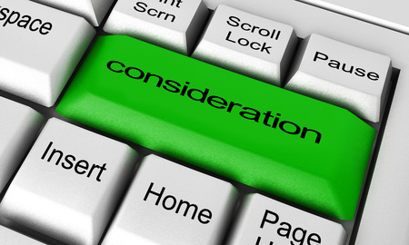 consideration: consideration word on keyboard button Stock Photo
