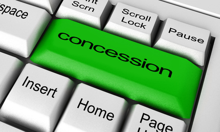 concession: concession word on keyboard button