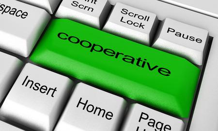 cooperativismo: palabra de cooperación sobre el botón del teclado