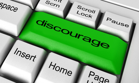 discourage: discourage word on keyboard button Stock Photo