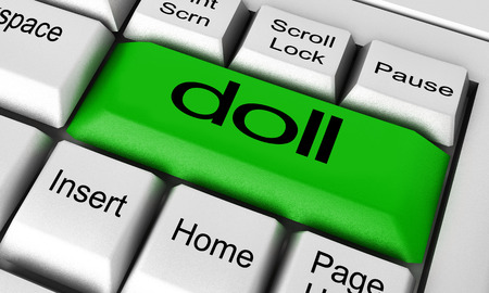 word processor: doll word on keyboard button