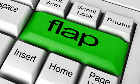 flap: flap word on keyboard button Stock Photo