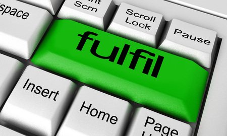 fulfil: fulfil word on keyboard button