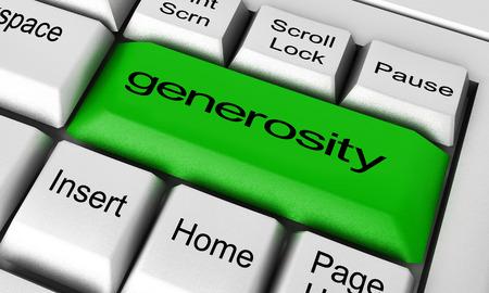 generosity: palabra generosidad en el bot�n del teclado Foto de archivo