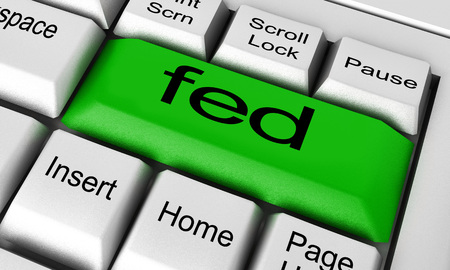 fed: fed word on keyboard button Stock Photo
