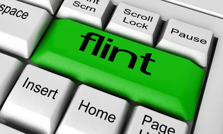 flint: flint word on keyboard button Stock Photo