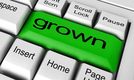 grown: grown word on keyboard button