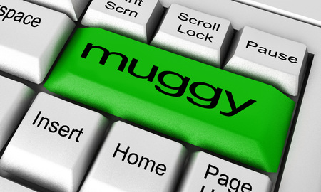 muggy: muggy word on keyboard button