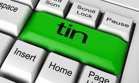 tin: tin word on keyboard button