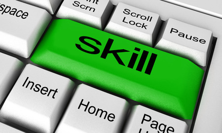 skill: skill word on keyboard button