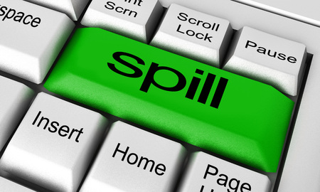 spill: spill word on keyboard button Stock Photo