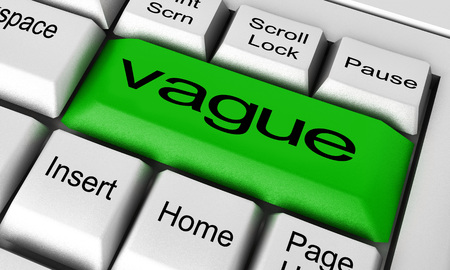 vague: vague word on keyboard button Stock Photo