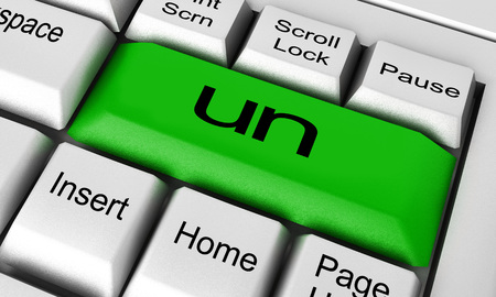un: un word on keyboard button Stock Photo