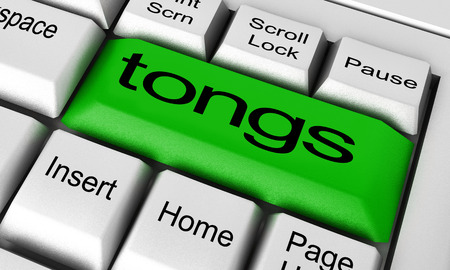 digital compose: tongs word on keyboard button
