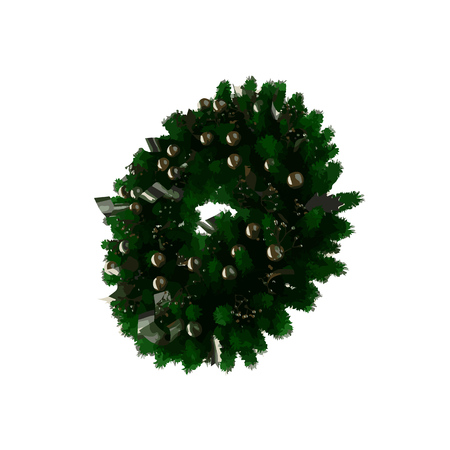 wreathe: vector green christmas wreath with decorations Illustration