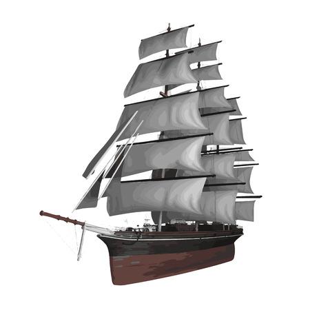 vector sailing ship illustration