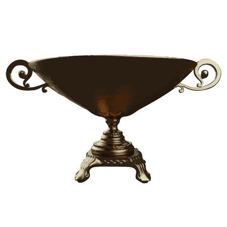crock: Vector illustration of golden shiny vase