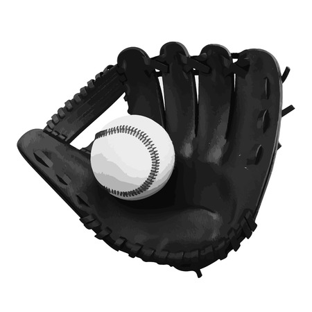 ballpark: vector Old vintage leather baseball glove with the baseball