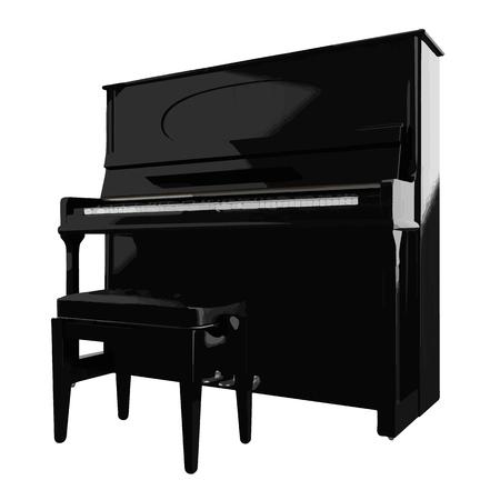 photorealistic: Piano isolated on white photo-realistic vector illustration