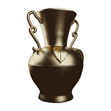 earthenware: Vector illustration of golden shiny vase