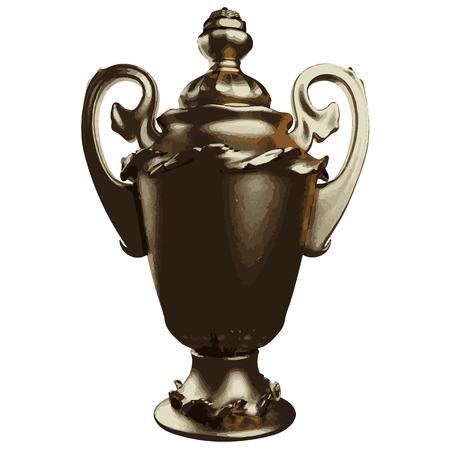 earthenware: Vector illustration of golden shiny vase