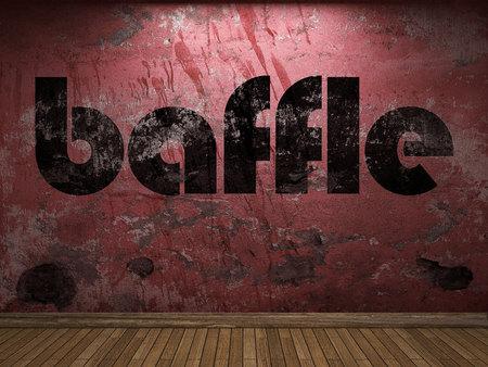baffle: baffle word on red wall
